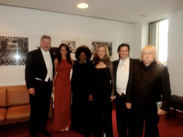 Jessye Norman (center) and Sir Karl Jenkins (far right)